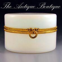 French Bulle de Savon Opaline Glass Jewelry Box, Hinged Ormolu Mounts