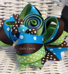 Turquoise Lollipop Over The Top Hair Bow Clip Girl by cococamila, $10.00