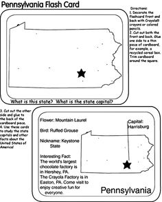 State flash cards and coloring pages free from Crayola.  Just enter your state in the purple search box.