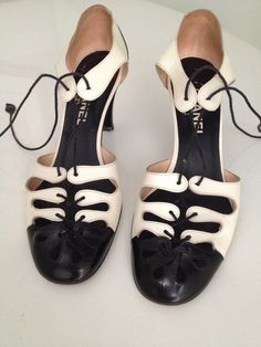Vintage Chanel Monochrome Black and White Patent by MarisaVintage, $200.00