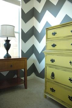 wall treatments, big girl rooms, striped walls, painted dressers, accent colors