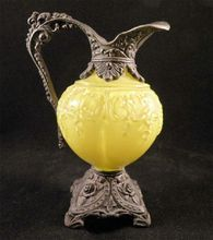 Old Yellow Ewer Shaped Cabinet Decoration from San Marcos Art Glass on Ruby Lane