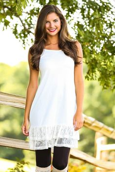 Ivory slip with lace, ruffle hemline! The perfect dress extender! The perfect slip to layer under sweaters! Obsessed! Must have!