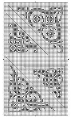 Corner 05 | Free chart for cross-stitch, filet crochet | gancedo.eu