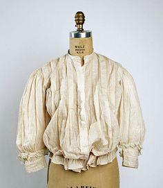 Striped cotton shirtwaist with detachable collar, American, 1899-1902.