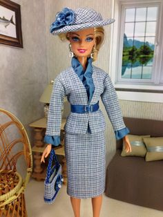 Barbie Doll Skirt Jacket Belt Purse Hat Blue by EnchantedStyles, $40.00