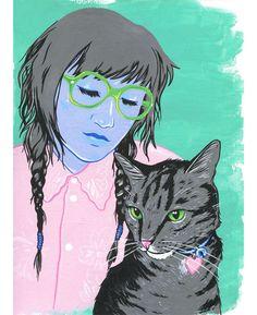 {girl + cat illustration}
