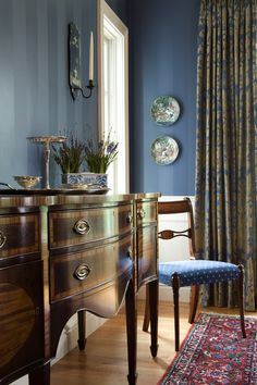 "Med Blue with Gold: wall color is Ralph Lauren ""Whistler Blue"""