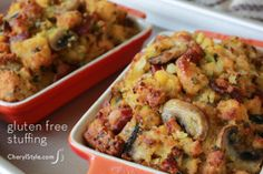 Gluten Free Cornbread Stuffing | FaveGlutenFreeRecipes.com - the perfect gluten free dish to bring to Thanksgiving dinner!