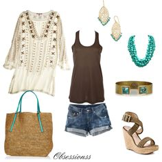 Brown & turquoise short, beaches, summer looks, style tunic, summer outfits, cute summer tunics, shoe, bohemian, bags