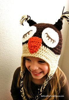 WHAT A HOOT Owl Hat with Earflaps and Tassels {Espresso & Tan} Newborn to adult sizes. Available at www.BehindMyPicketFence.com