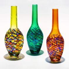Optic Rib Bottle Vase by Michael Trimpol, Monique LaJeunesse.