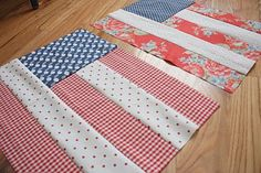 Flag quilts blocks. Just bought a bunch of 4th of july pattern, I could make a bunch of diff flags with them and sew them together and us as a blanket to sit on and watch fireworks!!!!!!!