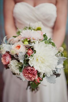 soft vintage bouquet - love that big white flower