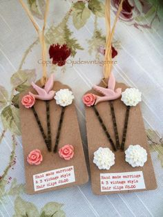 Vintage style earrings and hair clip set- Wedding £7.95