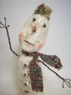 Primitive Folk Art Paper Mache Snowman by papiermoonprimitives, $35.00