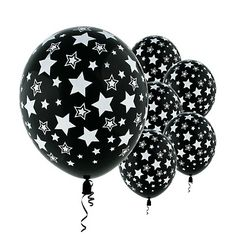 Black Balloons with White Stars $2.49