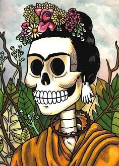 Frida Calavera with Flowers