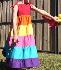 This Tiered Rainbow Maxi Dress is easy to sew, adorable, and perfect for summer days. Little girls will love the gorgeous color scheme, the twirly skirt, and the comfortable, breezy shape.