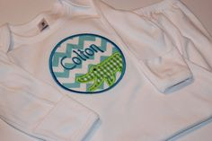 Personalized Alligator Baby Boy Gown - Baby Shower Gift - FREE SHIPPING with Another Item