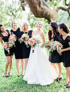 black dress bridesmaids + colorful bouquets