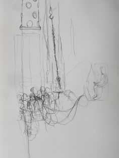 """Exhibition Road Drawing Resident: Liam O'Connor, April 2014 – April 2015, """"Despite their size and force they rely on the work of many pairs of hands to carry out their work"""" © Liam O'Connor."""