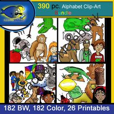 """390 Pc. SUPER-BUNDLE: ALL Initial """"A-Z"""" Kindergarten Clip-Art & WS! BW, Color from Illumismart on TeachersNotebook.com -  (390 pages)  - SAVE more than 20% off with this all-inclusive bundle of EVERY Illumismart Alphabet Clip-Art piece and center print-out sheet! Clip-art sizes range from about 2"""" to 7"""", 300 dpi, transparent png."""