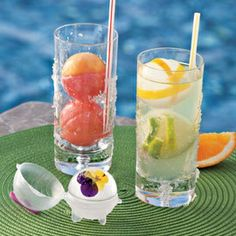 """Chill drinks faster with giant, 2"""" Ice Balls.  Put a slice of lemon or lime or a sprig of mint in these giant ice cubes...what better way to cool dinks and make for entertaining flair!"""