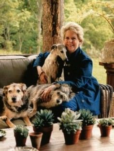 Bunny Williams with her dogs