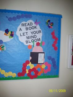 part of the spring bulletin board. teacher stuff, bulletin board, book, classroom libraries