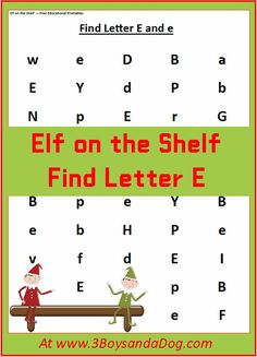 Find the Letter: E is for Elf (Christmas Printable Worksheets)