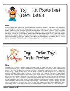 "Use children's toys to teach qualities of good writing.  That's one of the sections included in ""Kindergarten Writing Tools.""  This download also includes graphic organizers, spelling resources for writing notebooks, teaching posters, awards, and more.  Click on the product for a free preview.  98 pages, $"