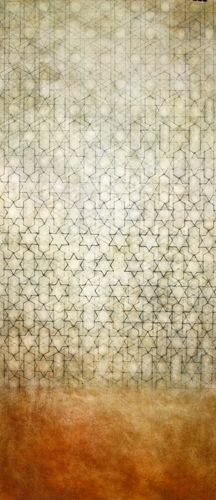 "Quirhue 2010 graphite, oil on prepared paper 13"" x 30"""