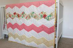 Crib Chevron Baby Quilt - Pink/Coral Yellow Theme