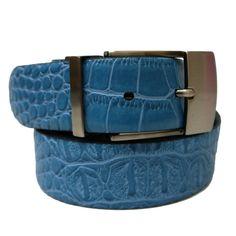 Steven Land 35mm Contrast Croco Leather Belt - Black / Blue - 40 at