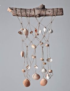 Could make this to hang as decor or as a mobile in a nursery. Macrame and shells.