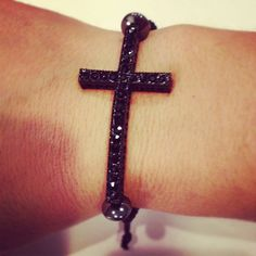 Black Cross Macrame Bracelet by AroundMyWrist on Etsy, 11.95