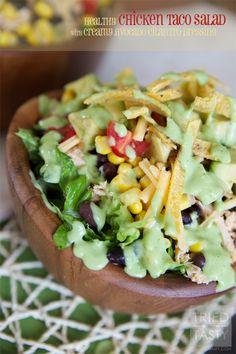Healthy Chicken Taco Salad with Creamy Avocado Cilantro Dressing | Tried and Tasty