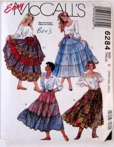 Adult Sewing Pattern McCall's 6284 Peasant Gypsy Prairie Tiered Skirts XSM - MED, $10.95 #McCalls6284