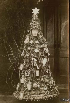 Kinda creepy for sure.... xmas trees, holiday parties, vintage christmas, christma tree, burlesque, christmas costumes, christmas trees, cards, halloween