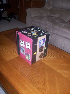 Sticker box!...made from a used small box, construction paper, duct tape, and STICKERS!!! :)    Keeps all the kids stickers off your walls and furniture...lol :)