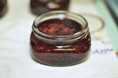 Strawberry Vanilla Jam- small batch. Yum!