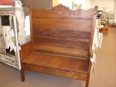 $435 - Antique bed finished into a gorgeous bench solid oak  ***** In Booth D8 at Main Street Antique Mall 7260 E Main St (east of Power RD on MAIN STREET) Mesa Az 85207 **** Open 7 days a week 10:00AM-5:30PM **** Call for more information 480 924 1122 **** We Accept cash, debit, VISA, MasterCard or Discover.