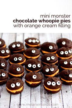 Mini Monster Chocolate Whoopie Pies with Orange Cream Filling   Melanie Makes