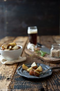 Gorgeous lighting and styling.  This DOF is fantastic.  Garlic Herb Beer Butter Roasted Potatoes