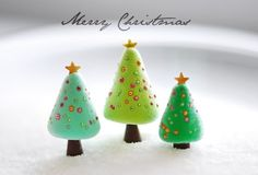 Mini polymer clay Christmas trees.