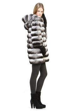 Chinchilla coat with hood and python inserts, by Annabella Furs Italia