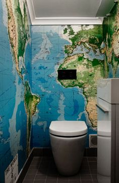 Does this large scale world map wallpaper overwhelm this small bathroom?  Why, yes.  Is it still super cool?  Certainly!