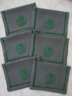 Julia B. Cocktail Napkins in Charcoal and Green