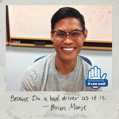 """Reason 92 #ItCanWait: """"Because I'm a bad enough driver as it is."""" Take the pledge to never text and drive again at itcanwait.com"""